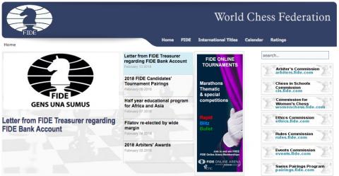 Il sito della FIDE al 16 Febbraio
